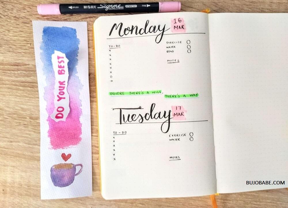 bullet journal daily logs