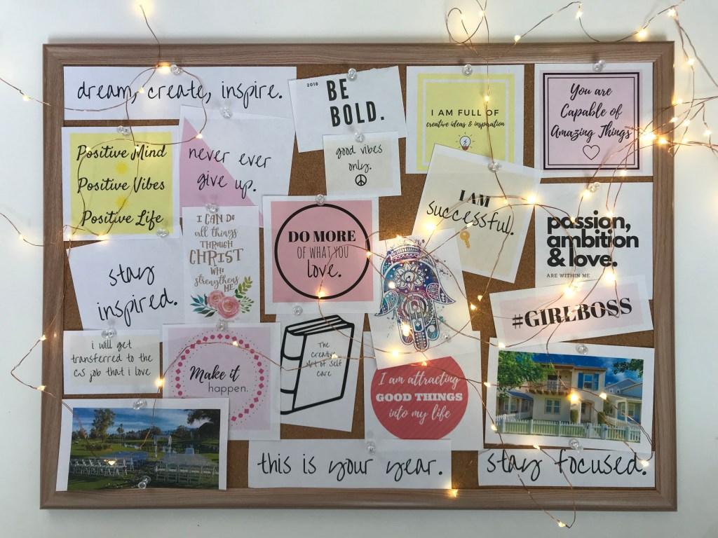how to make a corkboard vision board
