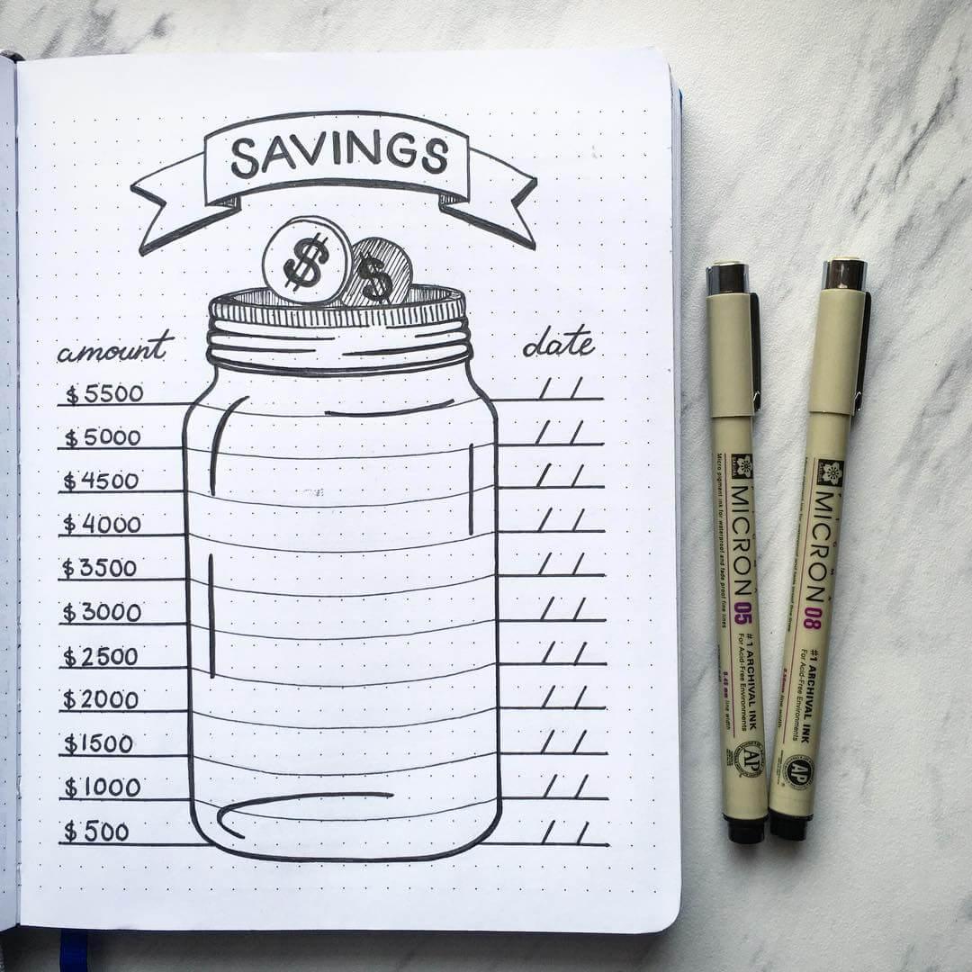 ways to make journaling fun - money saving trackers