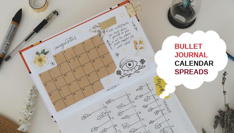 Bullet journal calendar spread ideas, bullet journal calendar, calendar layout ideas, bujo calendar