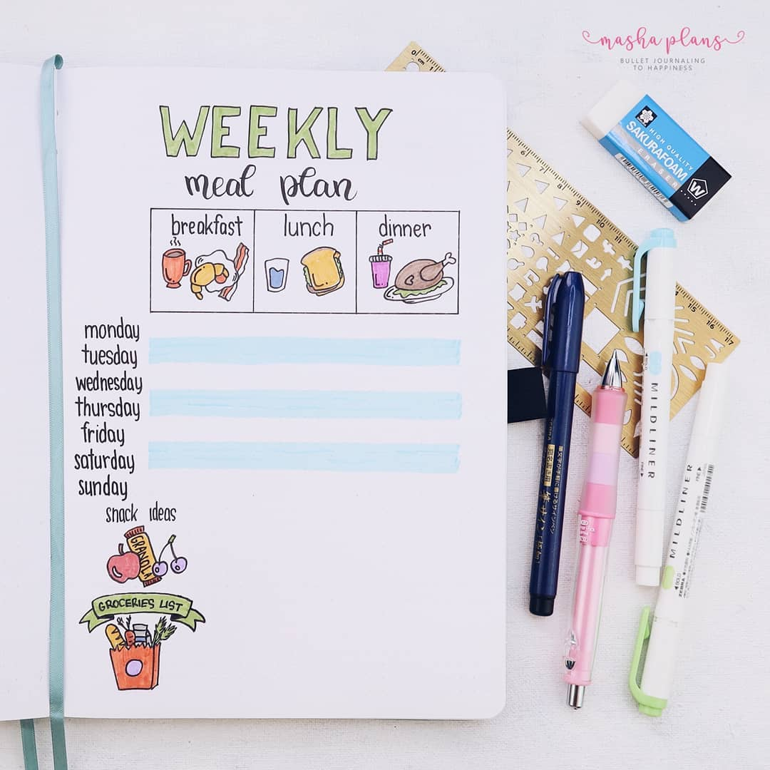 bullet journal meal planning, meal planning spreads, bullet journal meal plan, meal planning layouts
