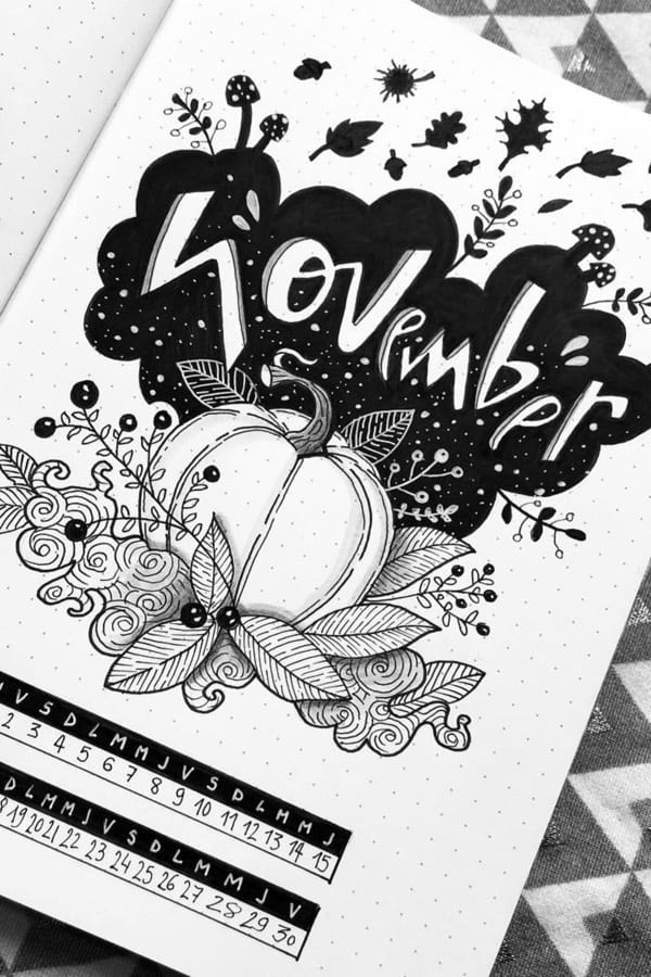 bullet journal monthly cover page ideas for november black and white