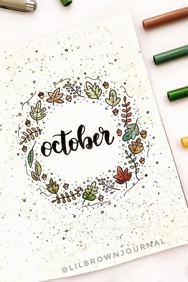 bullet journal monthly cover page ideas for october
