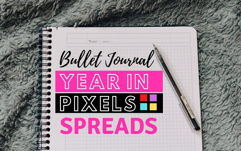 bullet journal year in pixels spread ideas, year in pixels spreads, minimalistic year in pixels, year in pixels layout