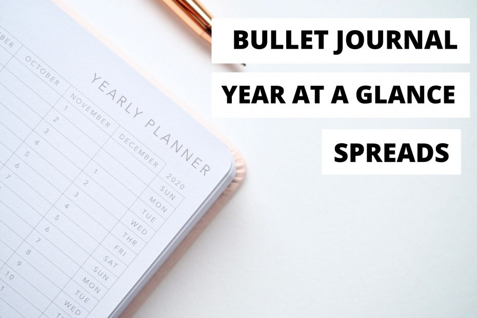 Bullet Journal Year at a Glance Spreads, Yearly Spread Ideas