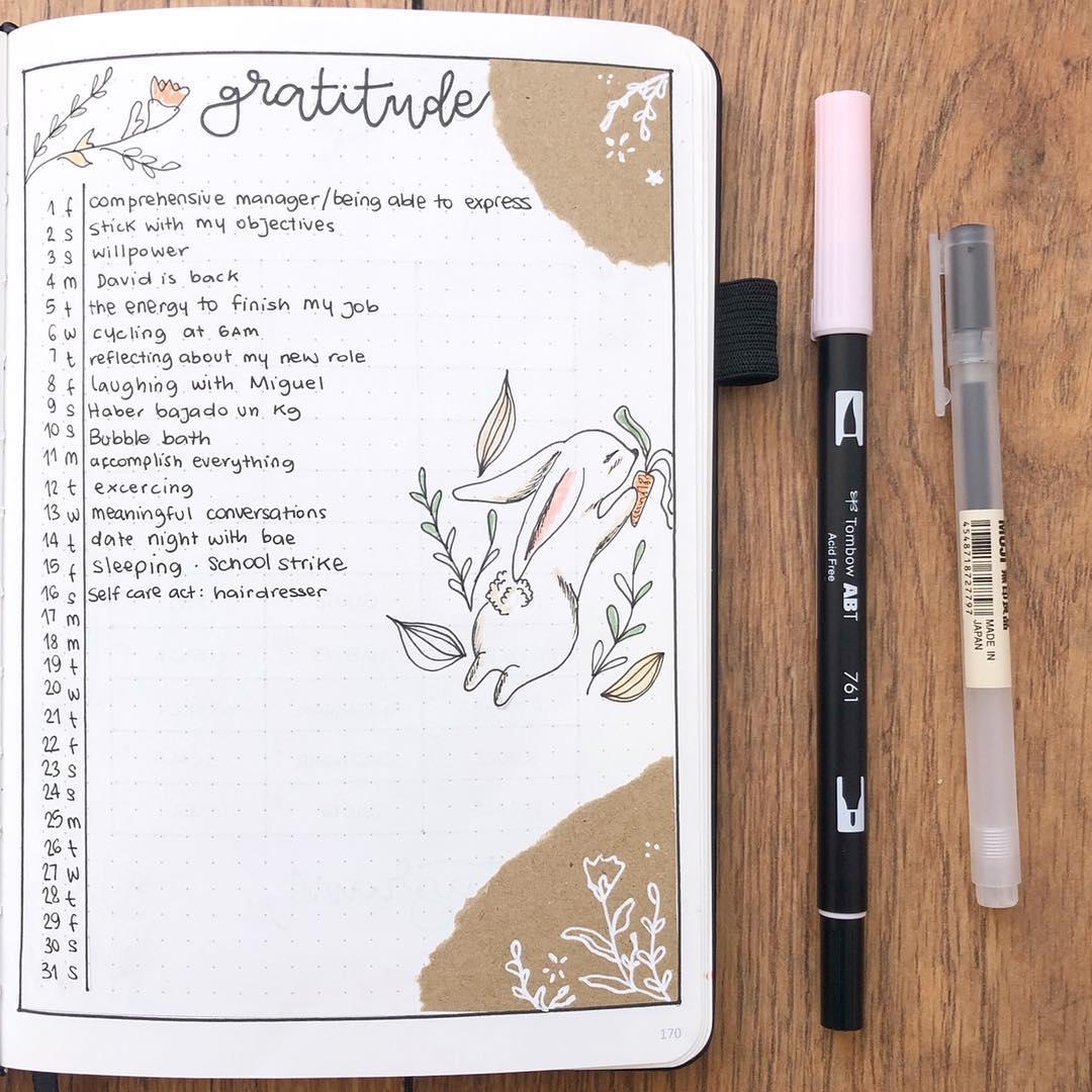 bullet journal gratitude logs, gratitude logs, gratitude layout ideas, bujo gratitude logs