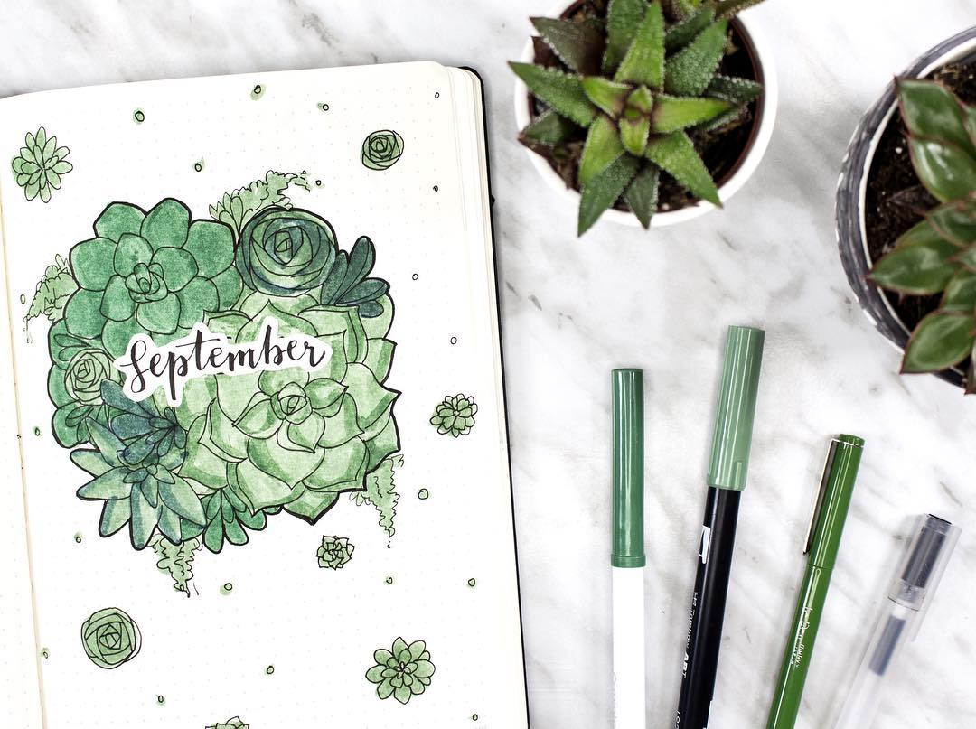 bullet journal succulent cover spread