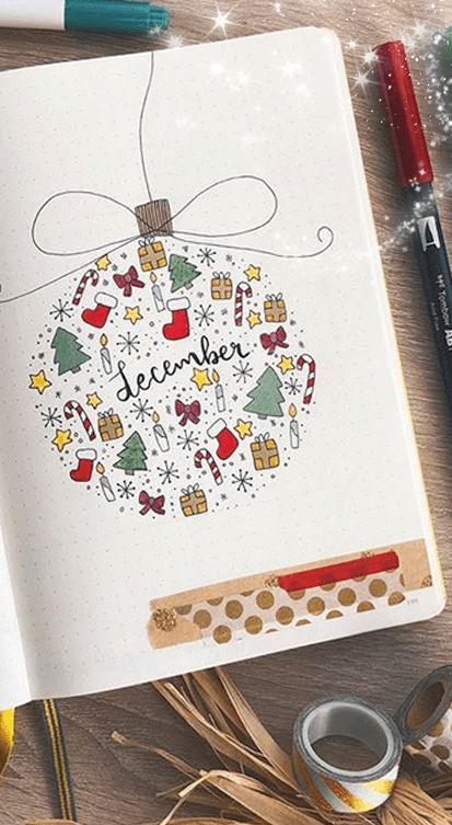 Christmas doodles, easy christmas doodles, bullet journal christmas doodles, december spreads