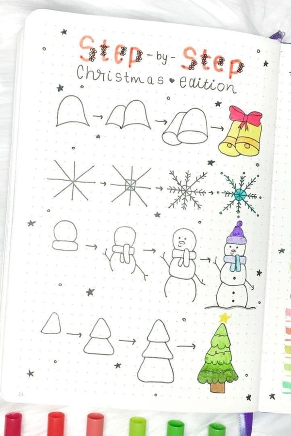 Christmas doodles, easy christmas doodles, bullet journal christmas doodles