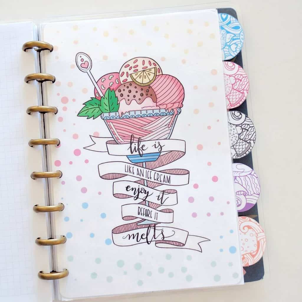 bullet journal themes, ice cream spreads, summer spreads