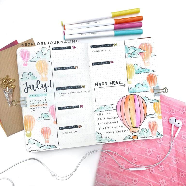 hot air balloon spread, bullet journal themes, bullet journal page ideas