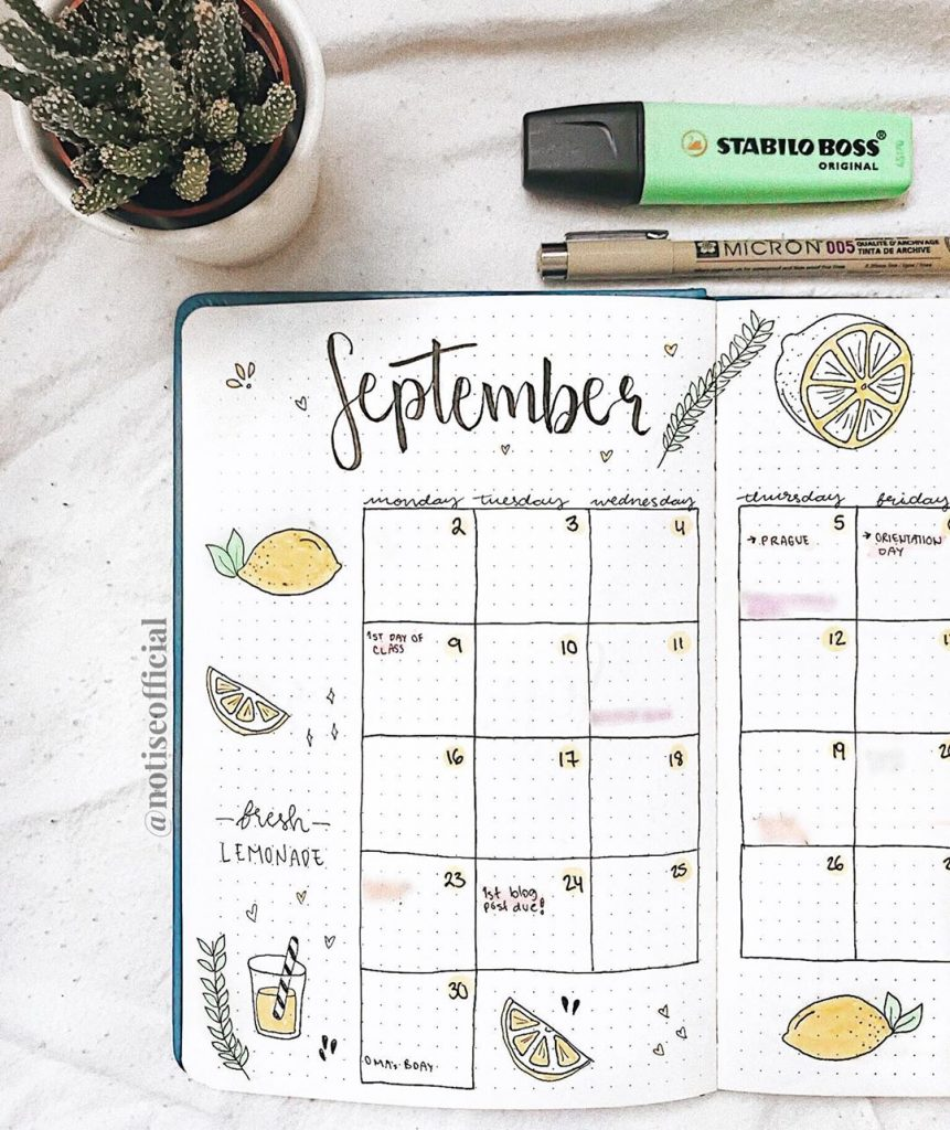 September Spreads, September Bullet Journal Spread