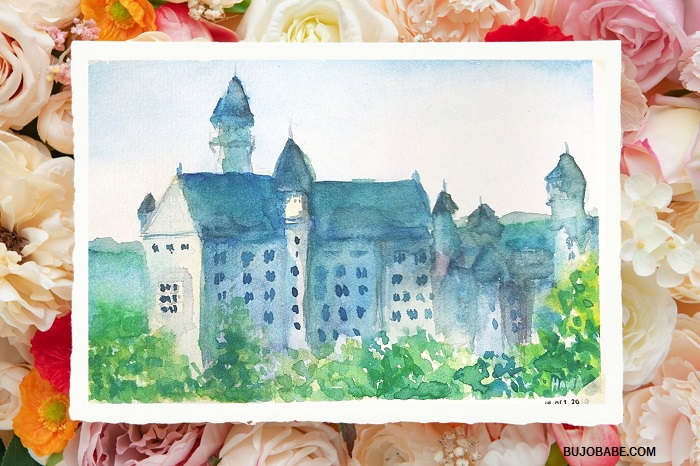 watercolor painting of castle building