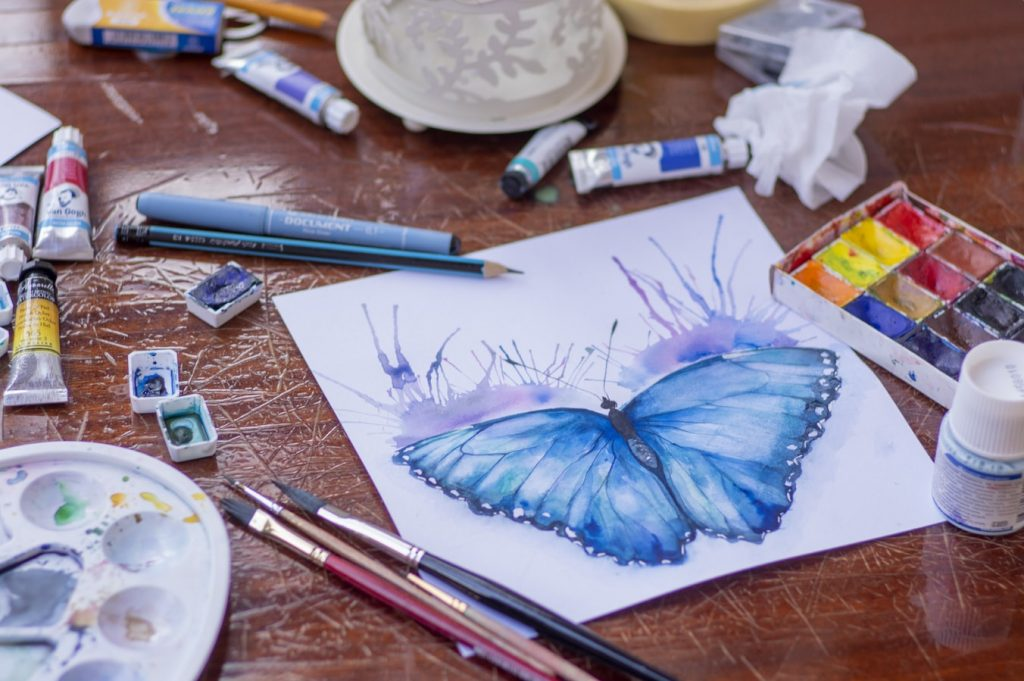 watercolor butterfly drawing for art journal