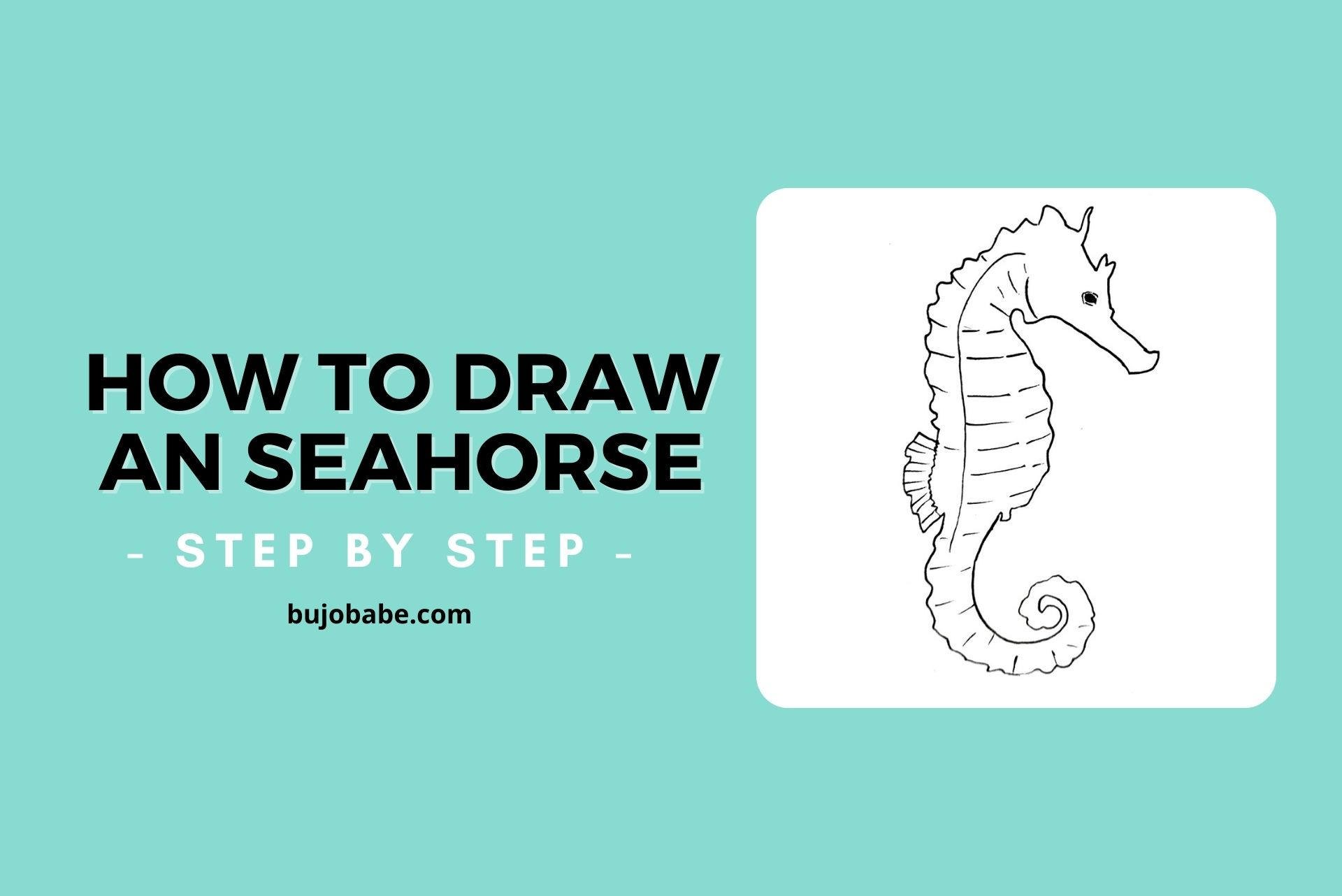how to draw a seahorse step by step