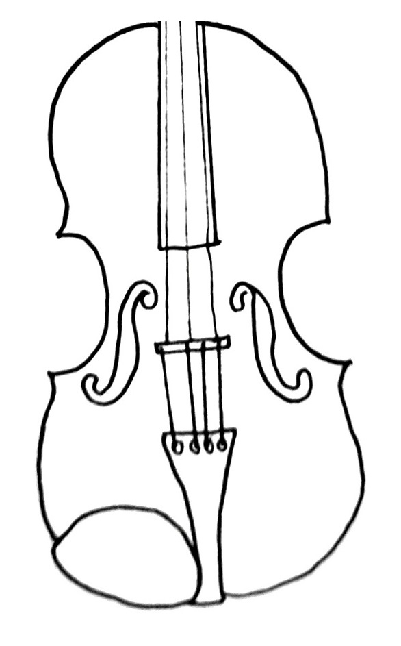 how to draw a violin step 6