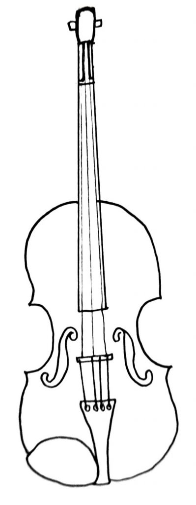 how to draw a violin step 8
