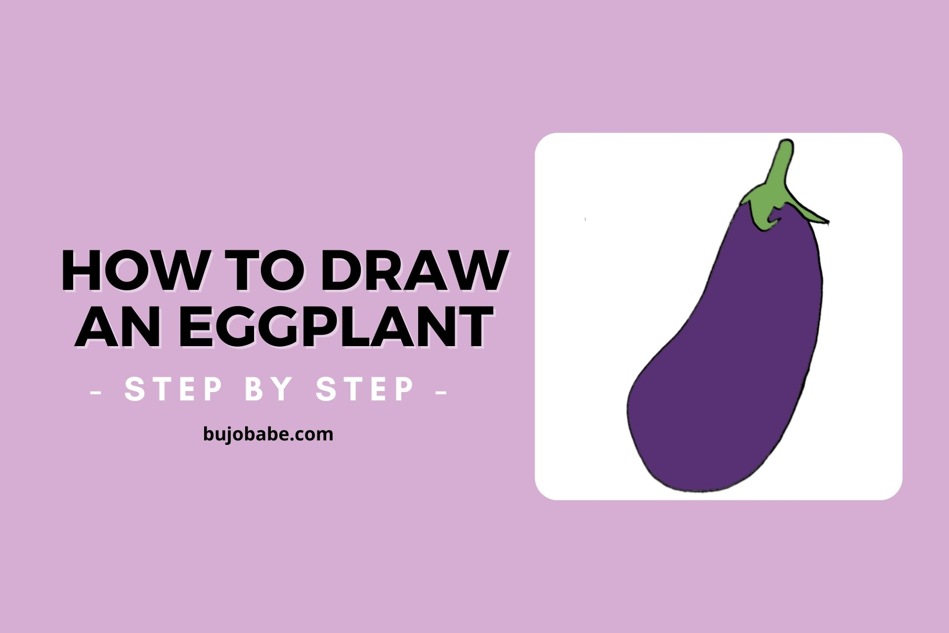 how to draw an eggplant step by step