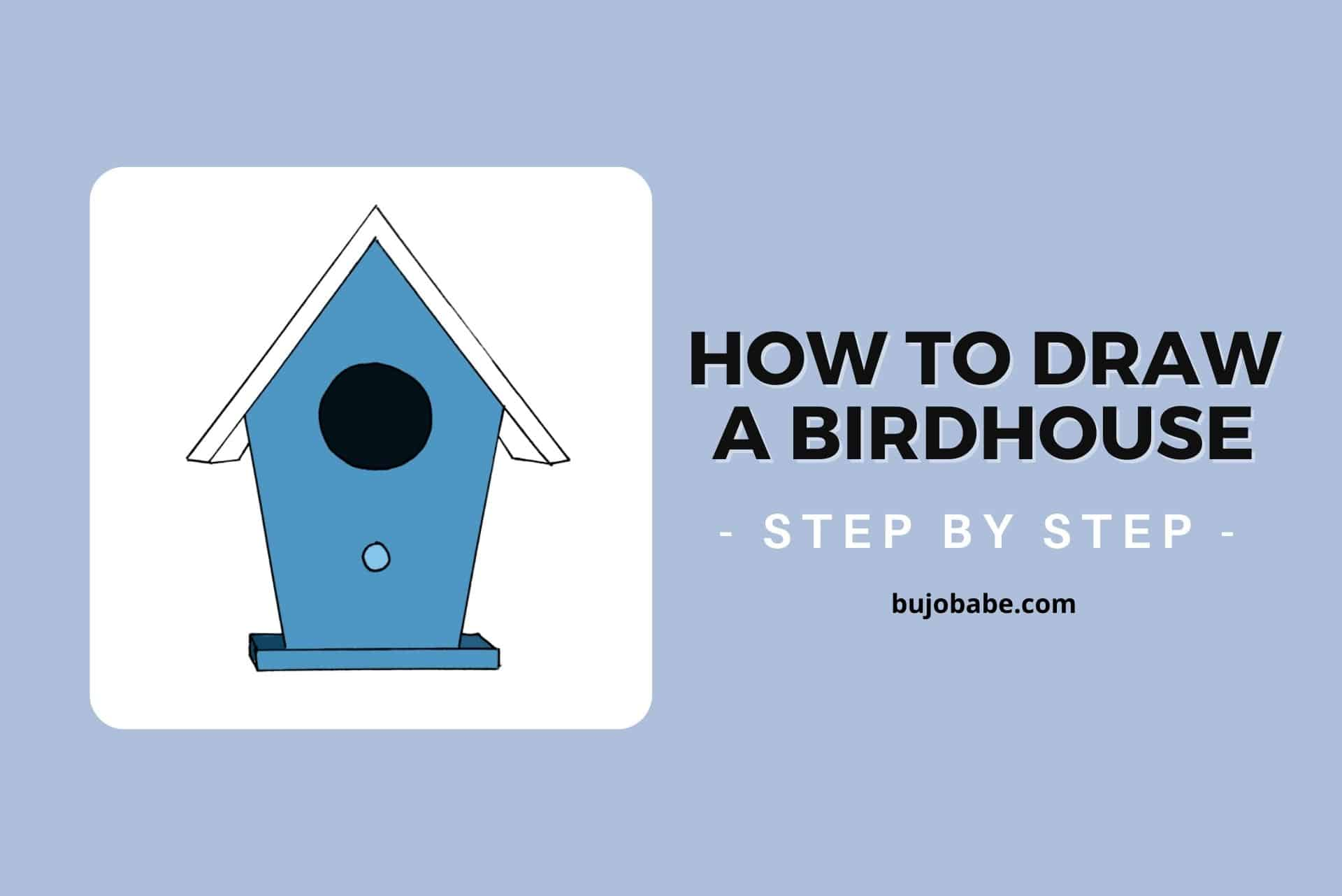 how to draw a birdhouse step by step