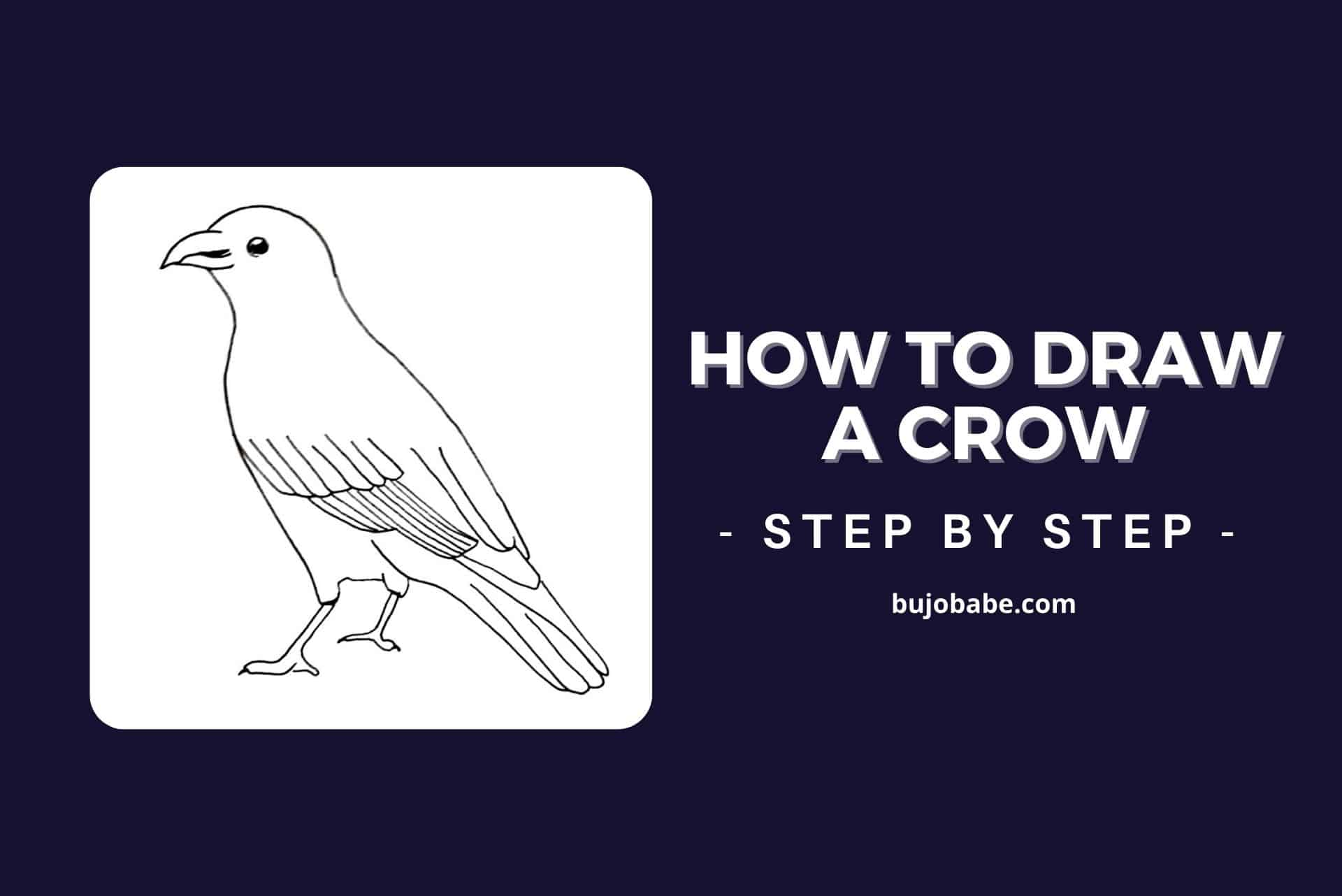 how to draw a crow step by step