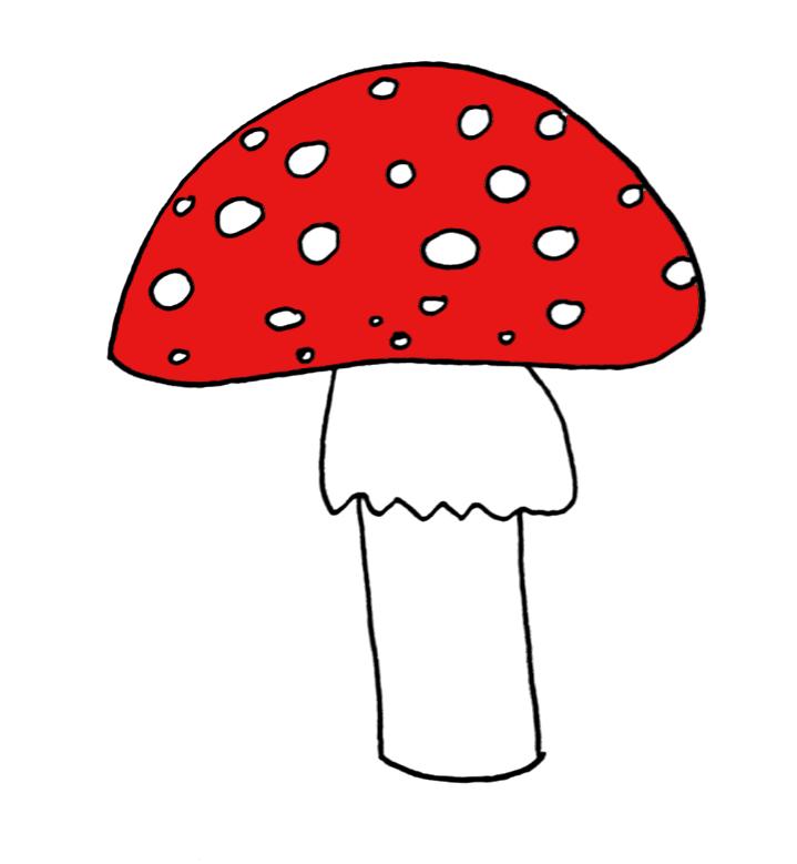 how to draw a mushroom step 6