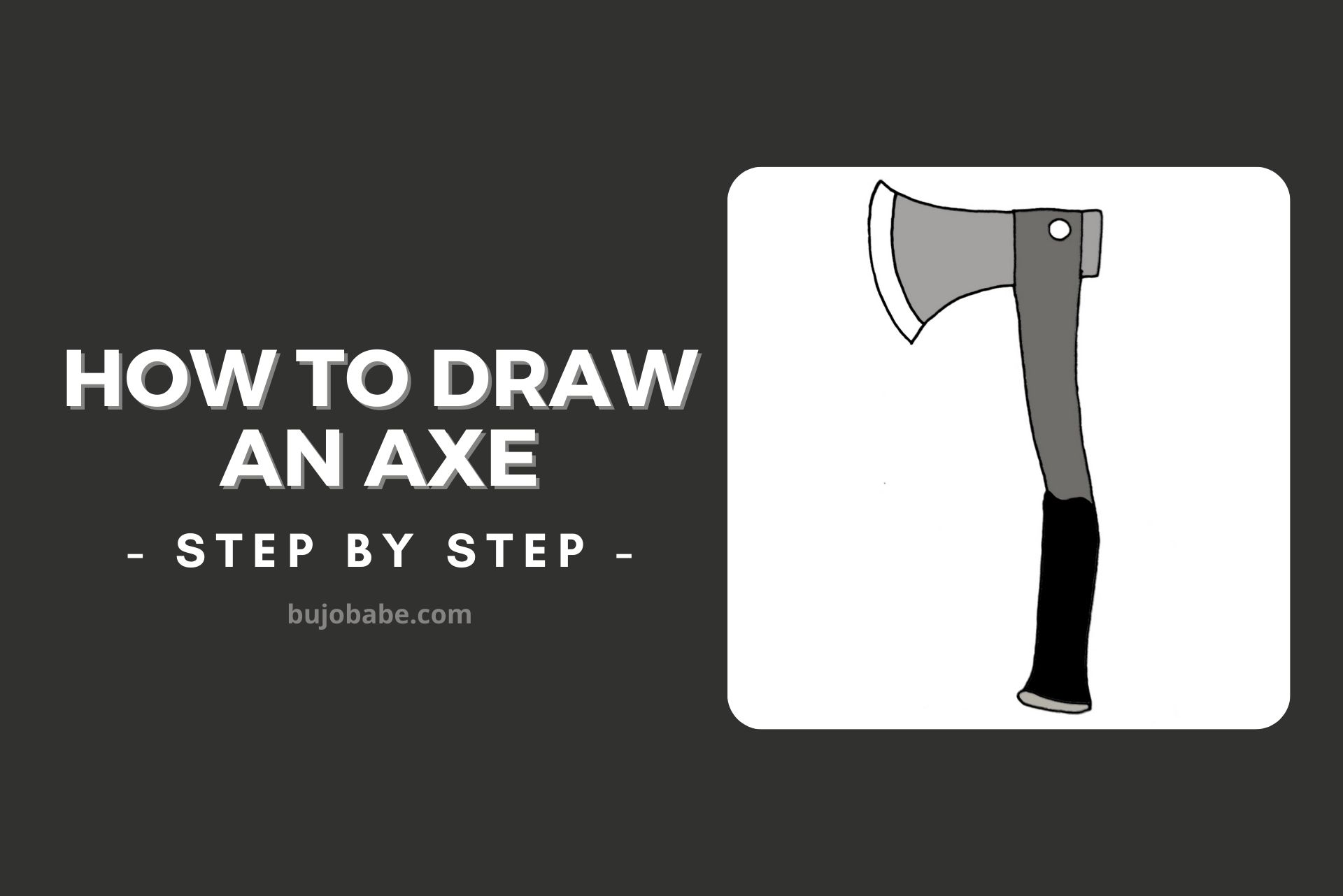 how to draw an axe step by step