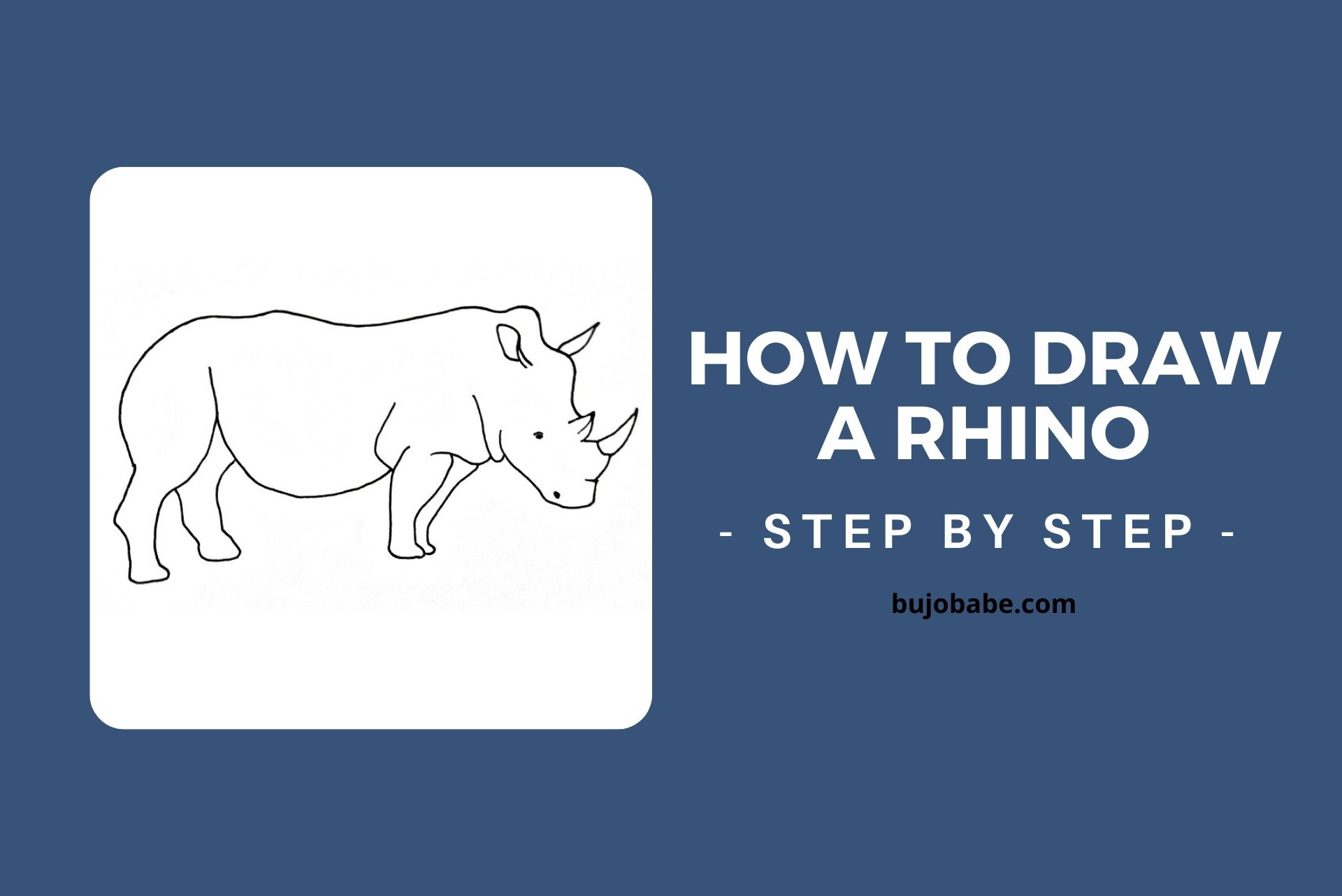 how to draw a rhino step by step