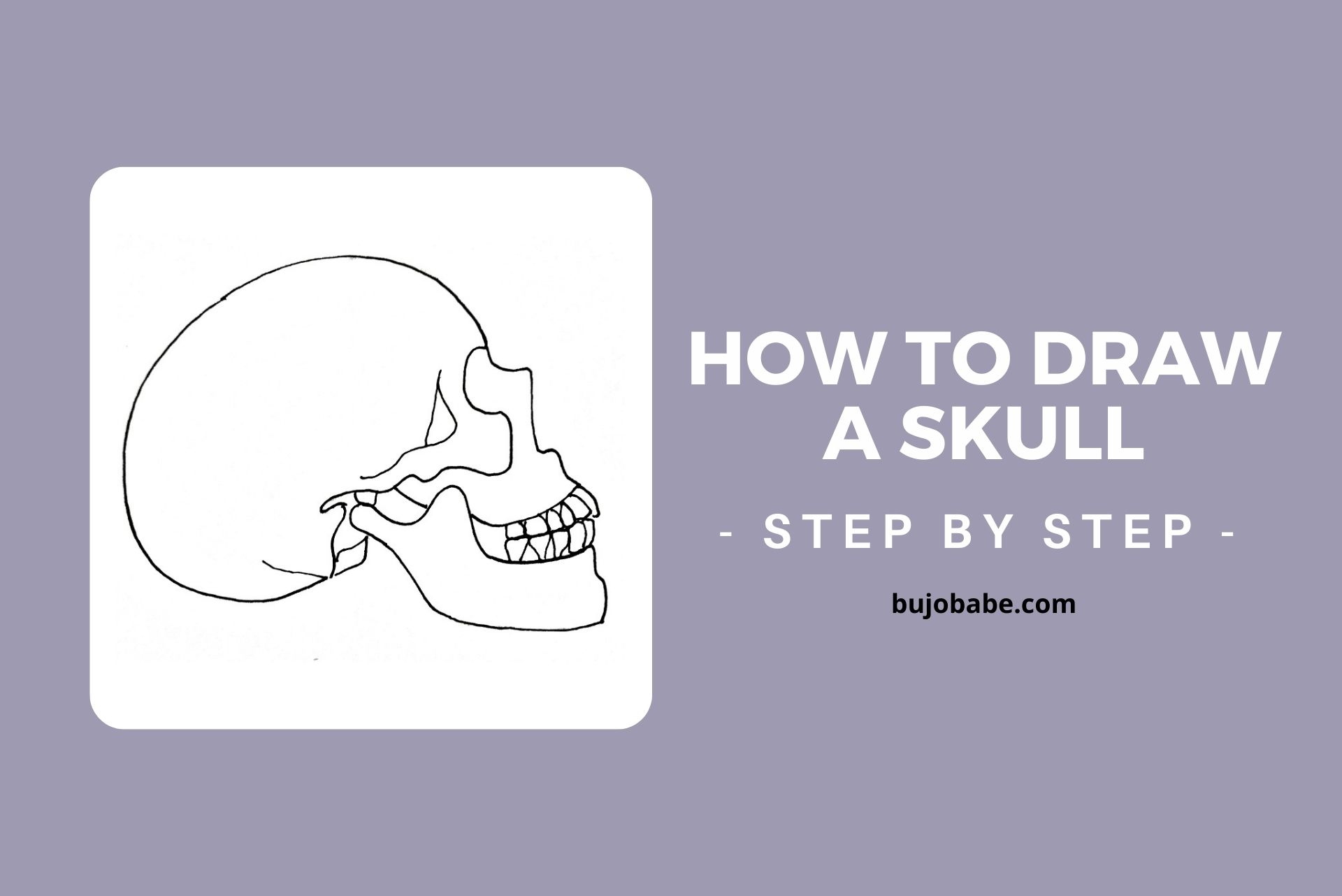 how to draw a skull in side profile step by step