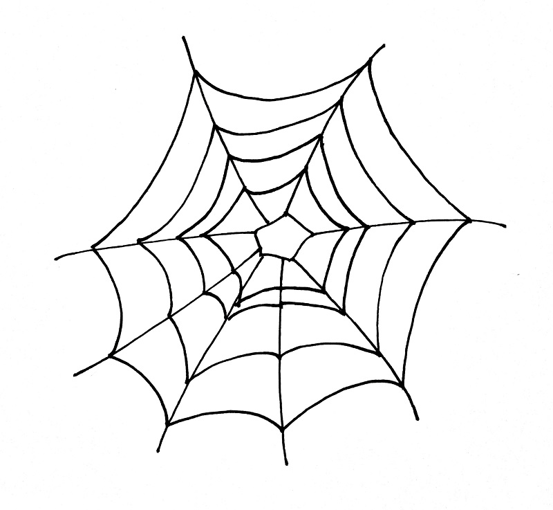 How To Draw A Spider Web Step 4